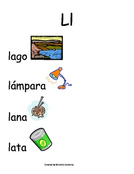 Spanish Word Wall- letter Ll