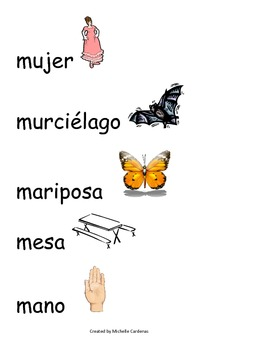 Spanish Word Wall- letter Mm