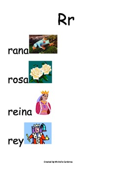 Spanish Word Wall- letter Rr