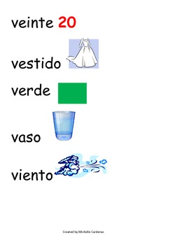 Spanish Word Wall- letter Vv