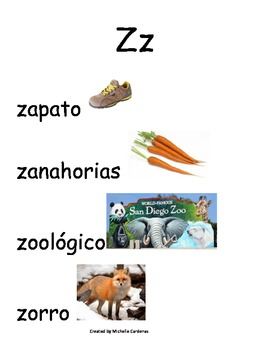 Spanish Word Wall- letter Zz