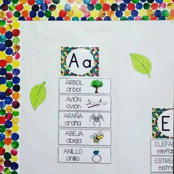 Spanish Word Wall vowels (pared de palabras)