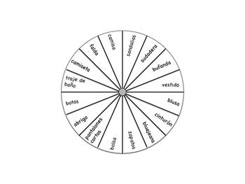 Spanish Word Wheel:  Clothing (La Ropa)