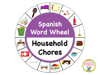 Spanish Word Wheel:  Household Chores (Quehaceres)