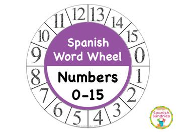 Spanish Word Wheel:  Numbers 0-15 (Números)