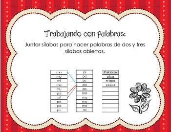 Spanish Word Work: Haciendo palabras con silabas abiertas