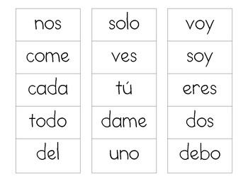 Spanish Word Work Lists