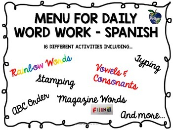 Spanish Word Work Menu