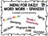 Spanish Word Work Menu