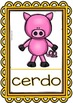 Spanish Words - Posters and Flashcards - (Farm Animals/ Bilingual) - Set 3 FREE