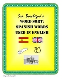 Spanish Words Used in English Word Sort (First Week or Sub Plans)