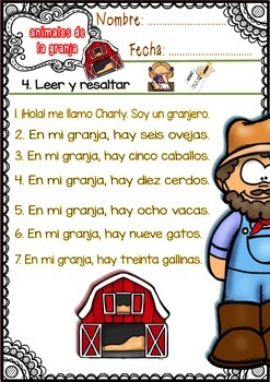 Spanish Words - Worksheets - (Farm Animals) - Set 2 FREE