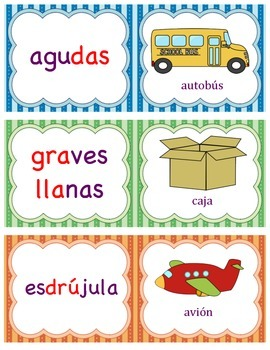 Spanish Words (agudas, graves, esdrújulas)