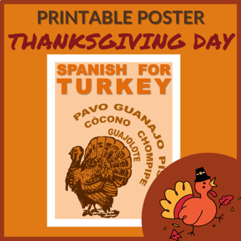 Spanish Words for Turkey Free Printable Poster