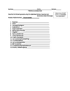 Spanish Worksheet Adjective Meaning and Agreement Practice