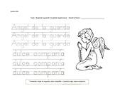 Spanish Worksheet. Angel de la Guarda prayer.