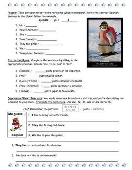 "Spanish Worksheet--Choosing ""Me, Te, Les, Nos"" or ""Les"" with Gustar"