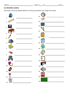 Spanish Worksheet: Class Materials/las materials escolares