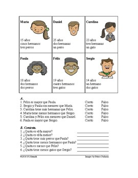 Comparatives Spanish Worksheet and Partner Activity~ Comparativos