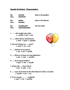 Los demonstrativos - Spanish Demonstratives Worksheet
