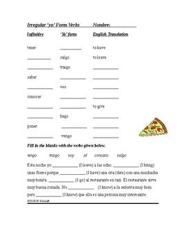 Spanish Irregular Yo Form Verbs Worksheet (Cloze Activity)