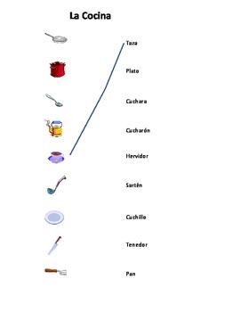 Spanish Worksheet Noodle La Cocina