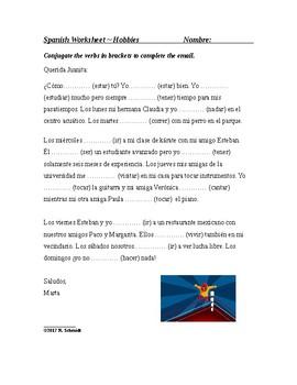 Spanish Present Tense Worksheet on Hobbies