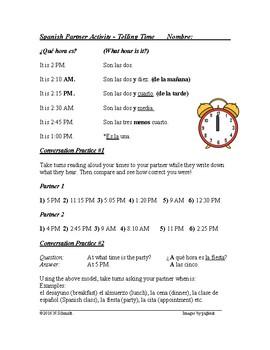 Decir La Hora Actividad ~ Telling Time Spanish Partner Activity