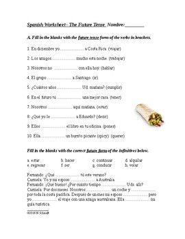 Spanish Future Tense Worksheet - El futuro