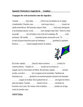 Imperfect Tense Spanish Worksheet ~ Imperfecto