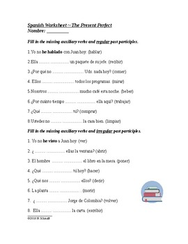 Spanish Present Perfect Tense Worksheet - Presente de perfecto