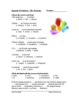 Preterite Tense Worksheet - El pretérito
