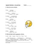 Spanish Worksheet on Ser and Estar: Multiple Choice