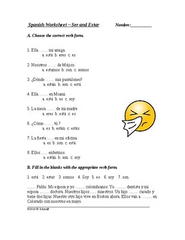 Ser And Estar Worksheets With Keys Teaching Resources Teachers Pay