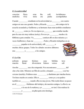 Spanish Gap Fill Worksheets - Cloze Activity