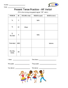 spanish worksheets present tense ar er ir regular verbs tpt. Black Bedroom Furniture Sets. Home Design Ideas