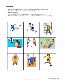 Spanish World Cup 2014 Activities for Novices