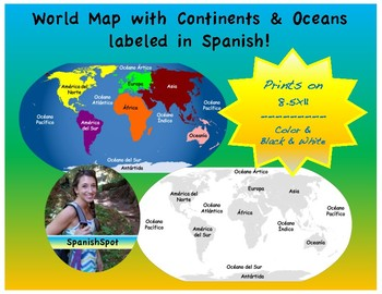 Spanish world map 7 continentes 5 ocanos by spanishspot tpt spanish world map 7 continentes 5 ocanos gumiabroncs Choice Image