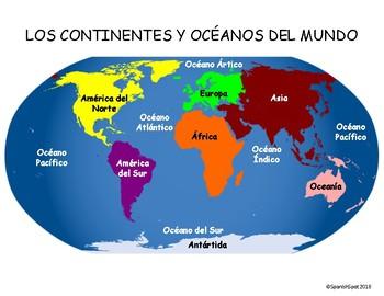 Spanish World Map- 7 continentes & 5 océanos by SpanishSpot | TpT