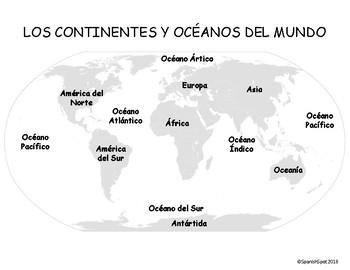 Spanish World Map- 7 continentes & 5 océanos