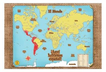 Spanish World Map ¡Aquí hablamos español!