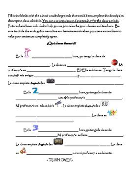 Spanish Writing Activity: Classes and Schedule/ Las clases y el horario