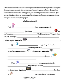 Spanish Writing Activity: Classes and Schedule/ Las clases