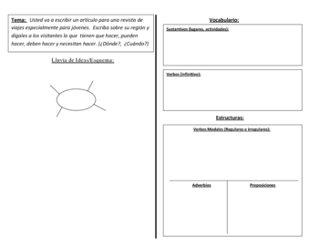 Spanish Writing Activity : Modal Verbs and Infinitives