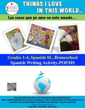 Earth Day Spanish Writing Activity- Poem Book Grades 1-4; Spanish SL
