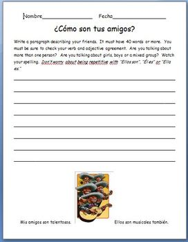 Spanish - Writing Assignment Using Ser and Adjectives