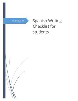 Spanish Writing Checklist for Students