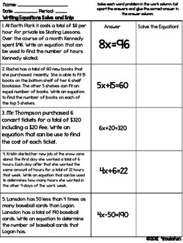 Spanish Writing Equations Solve and Snip®- Common Core and TEKS
