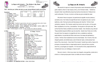 Spanish Writing Prompt - Clothes in my Closet - La Ropa en Mi Armario