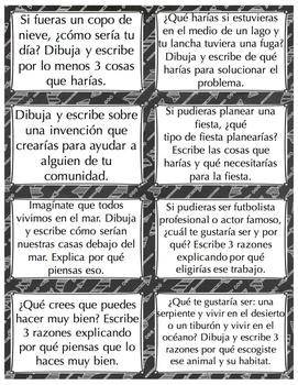 Spanish Writing Prompt Cards